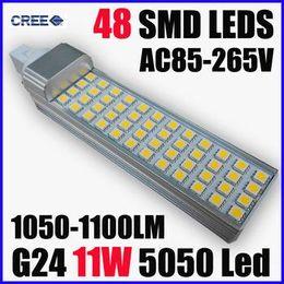 Vente chaude crie + CE ROHS G24 Led 11W 15W Ampoule Led 5050 SMD48 / 60 Leds maïs Lampe Chaud / Froid Spotlight blanc Led 1100/1500 Lumens 85-265V à partir de e27 ce smd fabricateur