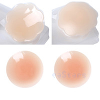 Breastforms&Enhancers Cotton Normal 4Pairs lot Strapless Self Adhesive Breast Nipple Cover silica gel invisible bra petal Pasties Cover Reusable Invisible Bra Pad