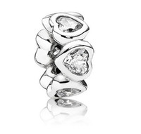 Wholesale Pink Clear Heart Cubic Zircon Crystal Paved Pandora Spacer Beads Sterling Silver Charm