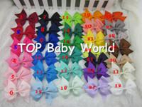 Wholesale 3 inch high quality grosgrain ribbon hair bows children hair accessories baby hairbows girl hair bows WITH CLIP