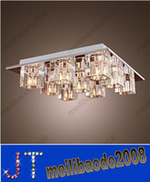 LED 110V Recessed Modern K9 Crystal Ceiling Light Dia300mm H300mm 9 Lights Flush Mount Square Shape K9 Crystal Chandelier Free Shipping Promotion Sales HSA291