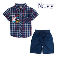 Wholesale summer baby boy clothes outfits cartoon peppa pig short sleeve plaid shirt solid navy shorts CD4739