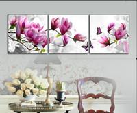 3 шт искусства стены установлены современная картина абстрактной живописи маслом декора стены холст картины для гостиной Фиолетовый магнолии
