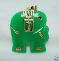 Pendant Necklaces Women's Pendants 3 PC Beautiful Green Jade Elephant Pendant Necklace 100% free shipping
