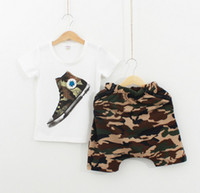 Boy Summer Short 2014 Summer Kids Clothing New style Fashion Korean Camouflage Boys Casual Sets Shoes pattern T shirt + Shorts 2pcs Children Suit TX 578