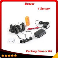 alert parks - 4 Sensors Buzzer No Drill Hole Saw mm Car Parking Sensor Kit Reverse Radar Sound Alert Indicator System