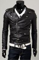 Wholesale 2014 New arrive Men s Leather Jacket Outerwear Slim diagonal zipper jacket PU jacket men s leather jacket clothing