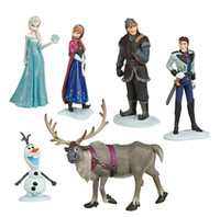 Wholesale New Fashion Frozen Anna Elsa Hans Kristoff Sven Olaf PVC Action Figures Toys Classic