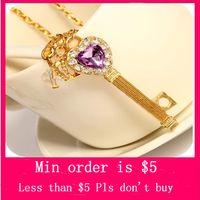Wholesale Min Order Mix Jewelry order Girl s Bling Golden Heart Key Crown Purple Rhinestone Pendant Necklace N0016