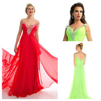 Reference Images V-Neck Chiffon Elegant Crystal Beaded Cap Sleeves Long Evening Dresses Open Back Off The Shoulder Red Formal Gowns Prom 2014 New Arrival
