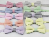 Wholesale men s bowtie linen pure color small grid pattern desgin High quality fashion leisure bow tie