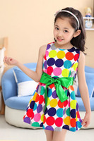 Wholesale Posed girl dress with short sleeves Cotton Fabric Polks dots multicolor baby dress clothes