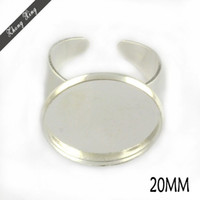 Wholesale Adjustable Ring Cabochon Blank With MM Round Pad Silver Plated Brass ring blanks bezel ring blank Base Setting J120182
