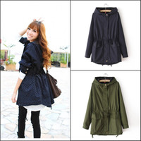 Wholesale Fall new Korean wave point dot hooded drawstring waist was thin windbreaker jacket women