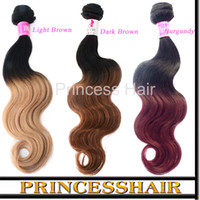 Wholesale 7A Ombre Hair Weave Extensions Brazilian body wave bundles Two Tone Colored Hair Weaving