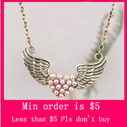 Wholesale Min Order Mix Jewelry order Design Cute Retro Wing Heart Fashion Pendant Necklace N0108
