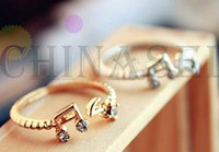 Wholesale new lady fashion alloy finger ring Open end ring rhinestone cute music semiotic hand ring jewelry