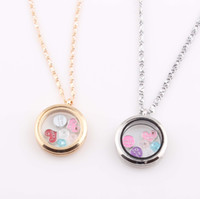 Wholesale Round Magnetic Floating Locket Necklace Glass Floating Charms Memory Locket Pendant Chain Necklace ZN92