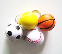 Promotion soccer ball lots - 12pcs pu foam material football keychain pu soccer keychain tennis ball keychain basketball keychain mixed items