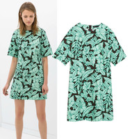 Casual Dresses V_Neck A Line 2014 New European Style Summer fashion women's clothing green leaf print round collar short sleeve female leisure dress,WD0127