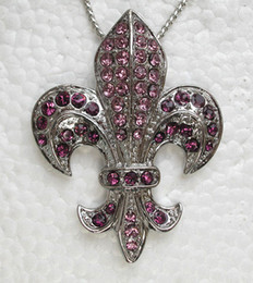 Wholesale Fashion Purple Crystal Rhinestone Necklaces Fleur De Lis sign Pendant Necklaces Jewelry accessories F043 D