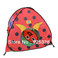 Cheap 2pcs lot Dropshipping 2013 Children Kids Tent Cartoon Ladybug Pattern Play House Toys Tents OutDoor Game Room PLAYHOUSE 14844