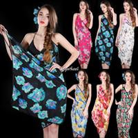 Wholesale Top Quality Women summer Deep V Wrap Chiffon Floral Butterfly Pattern Swimwear Bikini Cover Up Sarong Beach Dress b4 SV002861