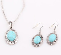 Earrings & Necklace antique china sets - 2016 Hot sale Retro Antique Silver Plated Oval Necklace Earring Turquoise Jewelry Set ZST49
