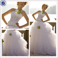 Wholesale Sexy Ball Gown One shoulder Appliques Ruffled Tulle Green And White Wedding Dresses