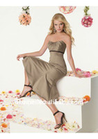 Model Pictures Sweetheart A-Line MP-266 Elegant Strapless A Line Tea-Length Elestic silk like satin Tight Bodice Short Bridesmaid Dress For Cheap