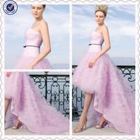 Wholesale 2014 Summer A line Halter Short Front Ruffled Tulle Purple Wedding Dresses