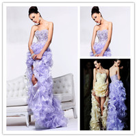 Reference Images Sweetheart Chiffon New Fashion 2014 High Low Dress For Prom Open Back Organza Ruffle Evening Gowns Long vestido de noiva