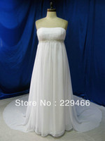 Other Reference Images Scoop Real Sample White Empire Court Train Chiffon New Model Wedding gown Bridal Dress 2014