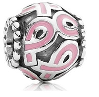 Wholesale 20 OFF Sterling Silver Pink Ribbon Breast Cancer Awareness Pandora Style Charm Beads Good Gift