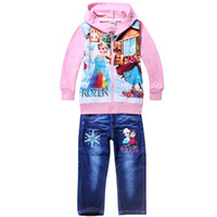 Wholesale 2014 New Autumn Winter Children Girls Frozen Coat with cap Long Jeans pants Cotton Printing Patchwork Suits Kids Clothing suits