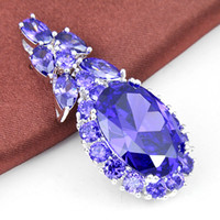 amethyst drop pendant - 2pcs _ High quality Silver Fire Amethyst Fashion Jewelry Drop Pendants CP0694