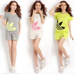 Wholesale 2014summer trend female printing short sleeve t shirt shorts sport twinset casual set sports women clothing set