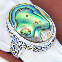 Wholesale Good Selling Sterling Silver Plated Abalone Shell Charms Rings Vintage Rings Size Mixed R0654