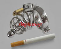 Male Chastity Cage Stainless Steel Wholesale - Small Stainless Steel Lockable Cock Ring Cock Cage with Penis Sounds Penis Cage Male Chastity Devices Sex Toys for Men SM229