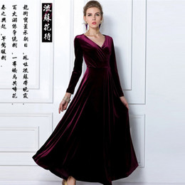 Wholesale New Spring Fashion V Neck Gorgeous Shimmer Velvet Stretchy Long Sleeve Dress Women Formal Evening Clothing Plus Size S XXL