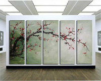 Abstract   The Plum Blossom, Huge 5 Panels Handmade Modern Flower Oil Painting on Canvas Wall Art ,Top Home Decoration JYJLV208