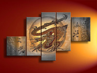 Abstract   5 Panel Wall Art Modern Abstract Glucksdrache Gray Oil Painting On Canvas Contemporary Couple For Home Decor