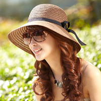 Stingy Brim Hat Red Cowboy Siggi hat female summer Korean fashion ribbon hat straw hat sun hat beach hat large brimmed sun hat