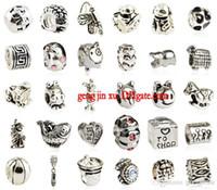 Wholesale Silver DIY Alloy Big Hole Loose Beads Crystal Diamond cheap Pandora Charms Fit European Bracelet Mixed Style