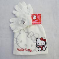 Wholesale Top Sale high quality hello kitty cap hat Winter cotton cap gloves color white black KTC101302 set