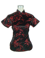 Wholesale New Arrival fashion cheongsam top traditional Chinese Women s Silk Satin Top china floral print blouse Black red A0031