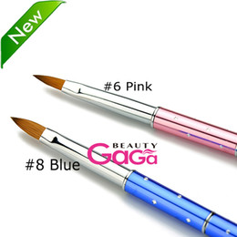 Wholesale Pink Blue Pure Animal Kolinsky Hair Nail Art Manicure Pedicure Tool Kolinsky Acrylic Nail Brushes
