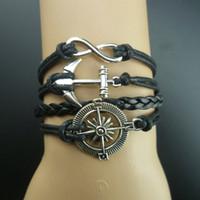 Wholesale black anchor infinity compass bracelet designer inspired jewelry bracelet for women new B1