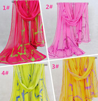 Wholesale 2014 Fashion Chiffon Scarfs Sarongs Classical Ink Painting Pattern Beach Towel Printed Scarves Colors