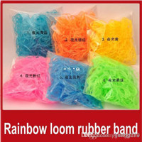 12-24M Multicolor Plastic Wholesale - Rainbow Loom Rubber Band glow in the dark looming Bands Pack DIY Bracelet creative gifts (600 rubber bands +24 C clip or S clip